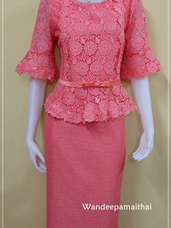 ชุดผ้าไหมญี่ปุ่นแต่งด้วยลูกไม้นอก ปักเลื่อม แขนสามส่วน เสื้อ+กระโปรงยาว สีโอรสเข้ม เบอร 36