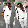 (พร้อมส่งค่ะ) ชุดแฟชั่น Sport set เกาหลี ผ้า cotton เนื้อดี แต่งชายเสื้อ 2 ข้างเป็นแบบผูก+กางเกงขายาวเอวรูด - สีขาว (Size: L , M)