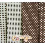 ผ้าจัดเซ็ตลายจุด ลายตารางสีน้ำตาล ราคาพิเศษ (ขนาด 40 x 70 ซม. จำนวน 4 ผืน)