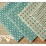 ผ้าจัดเซ็ตลายจุด ลายตารางสีฟ้า ราคาพิเศษ จำนวน 4 ผืน (ขนาด 40 x 70 ซม.)