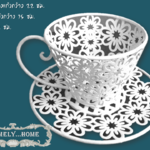 ถ้วยกาแฟวินเทจลายดอกไม้