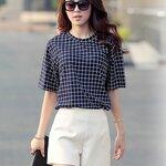 ชุดเซ็ทเสื้อ+กางเกงเอวสูงขาสั้นสไตล์เกาหลีสุดเก๋