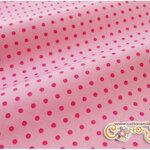 ผ้าคอตตอนไทยพื้นสีชมพูอ่อนลายจุดสีชมพูเข้ม (ขนาด 50x55ซม)