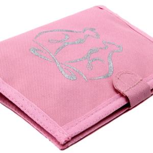 กระเป๋าสตางค์ผ้า ลายแมวคู่พื้นสีชมพู
