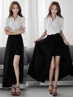 ชุดเดรสยาว เสื้อชีฟองพริ้วตัดต่อกระโปรงผ้าคอตตอนยืด สีดำ เอวยางยืด