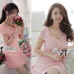 Lady Jane Sweet Delicate Ribbon Dress (สีชมพู)