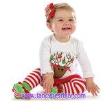 ชุดคริสมาสเด็กหญิง เสื้อลายกวางเรนเดียร์+กางเกงเลคกิ้งลาย (ไม่มีถุงเท้ากับกิ๊ปผม) Christmas Costume สำหรับ เทศกาลวันคริสมาส มีขนาด 120