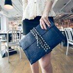 กระเป๋าแฟชั่น Unihouse Clutch New Collection สี Dark Blue แต่งหมุด