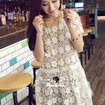 Seoul Secret Say's...Daisy Lace Curve Out Dress white