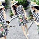 Seoul Secret Say's ... Bloom Sew Stripy A-Dress