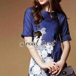 Blue Denim Lace Furnish Dress by Seoul Secret