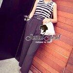 Loly Bella V-Stripy Cami Black Pants by Seoul Secret
