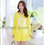 เสื้อคลุมท้องสีเหลืองแขนยาว ชายเสื้อระบาย แต่งรูปดอกไม้ น่ารักสุดๆค่ะ มีsize L, XLจร้า