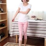 กางเกงพยุงหน้าท้อง ขา5ส่วนสีชมพูอ่อน น่ารักค่ะ