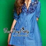Shirt Mini Dress denim Blossom Embroider style Korea