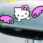 สติ๊กเกอร์ติดกระจกมองข้างรถยนต์ Hello Kitty ปีกชมพู (13.5x4.5 CM) แพ็คคู่
