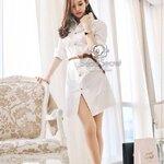 Korea Smart White Long Blouse With Brown Belt by Seoul Secret
