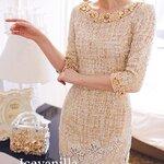 Luxury gold Diamond&pearl knit Dress