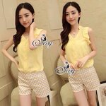 Sevy Two Pieces Of Summer Hot Vacation Chiffon Sleeveless Top With Low Waist Short Pants Sets Yellow