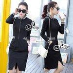 Sevy Zipper Half Sleeve Strips Edges Sweater Mini Dress Black