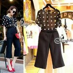 Sevy Two Pieces Of Polka Dot See-Through Blouse With Capri Pants Sets