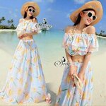 Sevy Two Pieces Of Sweet Blue Sunflower Crop Off Shoulder With Long Skirts Beach Sets