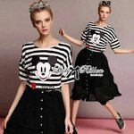 Lady Ribbon's Made Muico Mickey Mouse Screening Striped Top and Flared Midi Skirt Set