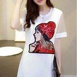 Mini Dress ขาว ตกแต่งรูปผู้หญิงสวมหมวกแดง(ตรงหมวกแดงปักด้วยเลื่อม)สวยงามมากๆค่ะ