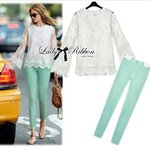Lady Ribbon's Made Lady Caroline Lace Blouse and Pepper Mint Pant Set