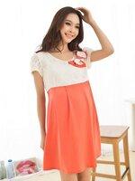 ชุดคลุมท้องสีส้มขาว ด้านบนเป็นผ้าลูกไม้ต่อด้วยสีส้ม พร้อมเชือกผูกด้านหลัง น่ารักค่ะ