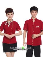 เสื้อพนักงานต้อนรับสีแดงชายและหญิง