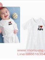 เสื้อเด็กอ่อน baby I love papa ** I love mama สีขาว กระดุมติดหน้า น่ารักมากๆค่ะ