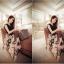 เดรสยาวแฟชั่น ผ้าชีฟอง แขนกุด กระโปรงพิมพ์ลายดอกกุหลาบ thumbnail 3