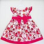 (พร้อมส่ง) Gymboree เดรสเด็กสีครีมลายดอกไม้สีชมพู มีซับใน ปักโบว์สีชมพูน่ารัก (Flower collection)